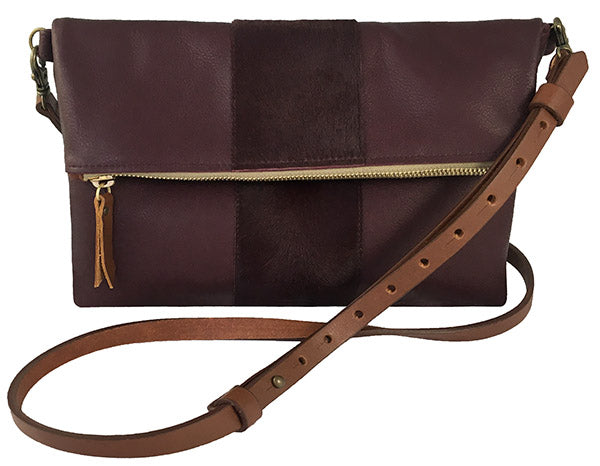 "Medium Crossbody Purse – ""The Betty"" (leather w/calf hair stripe)"