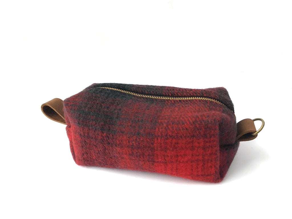 Medium Toiletry Bag - Red & Black Plaid Blanket with Leather