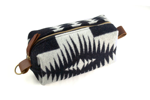 Medium Toiletry Bag - Black & White Tribal Blanket with Leather