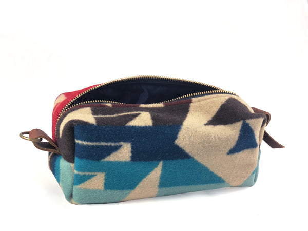 Medium Toiletry Bag - Blues & Reds Tribal Blanket with Leather