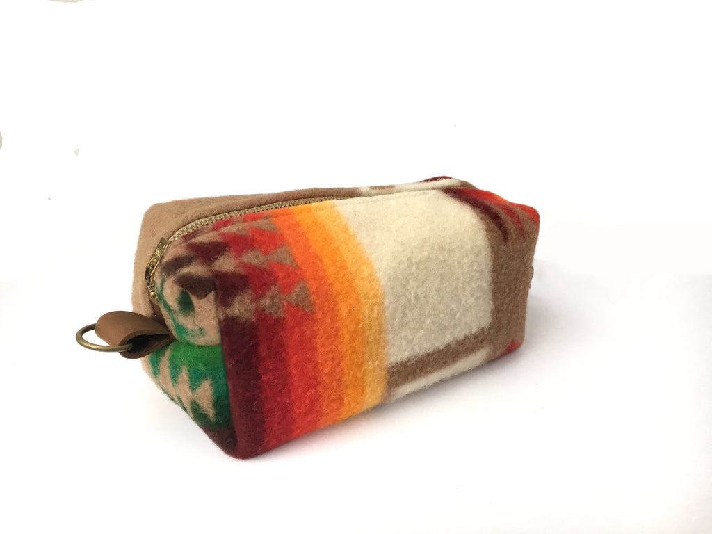 Medium Toiletry Bag - Warm Tribal Blanket with Leather