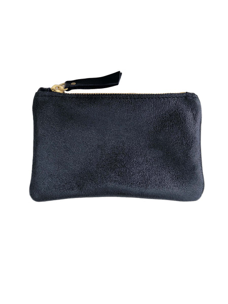 Small Coin Pouch - Gunmetal Metallic Leather (add'l metallic colors avail)