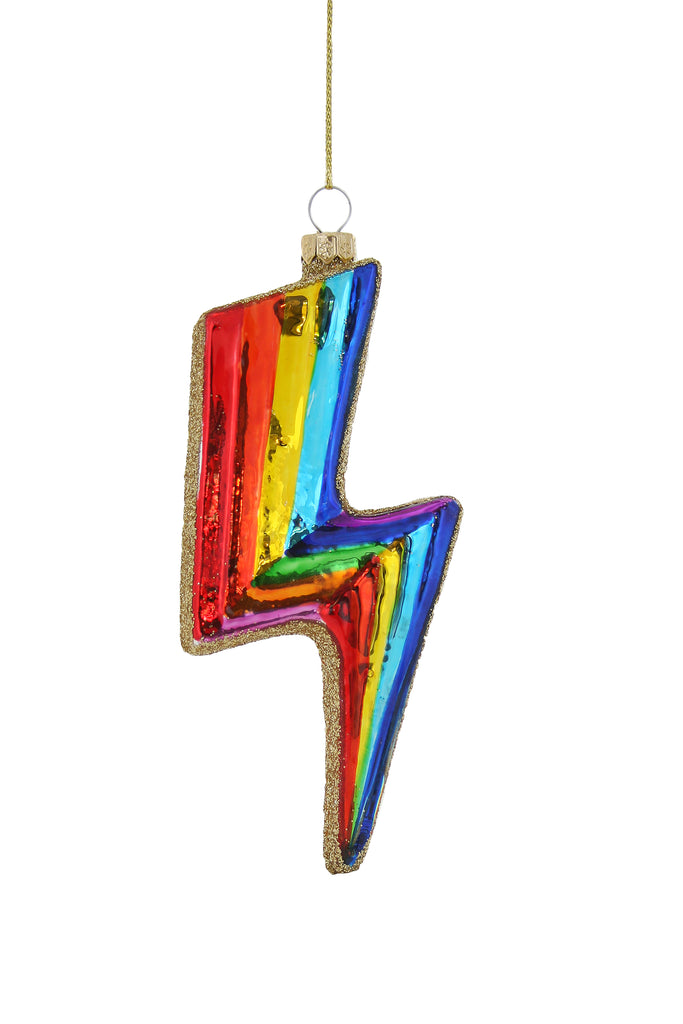 Rainbow Bolt Glass Ornament