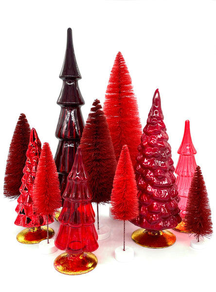 Red Hue Glass Trees Bottle Brush Trees Holiday Bristle Brush Cody Foster Christmas Decorations