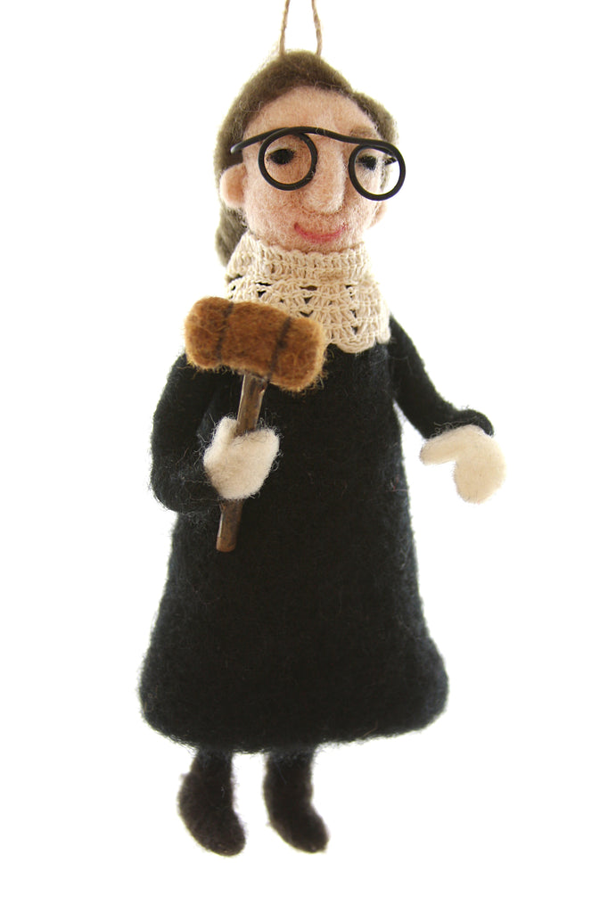 Ruth Bader Ginsburg Felt Ornament RBG Justice Ginsburg Felted Ornament doll Malala Fund charity ornament