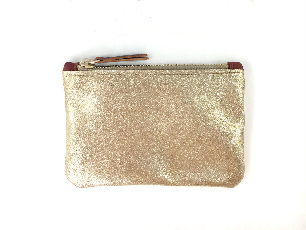 Small Coin Pouch - Champagne Gold Metallic Leather (add'l metallic colors avail)