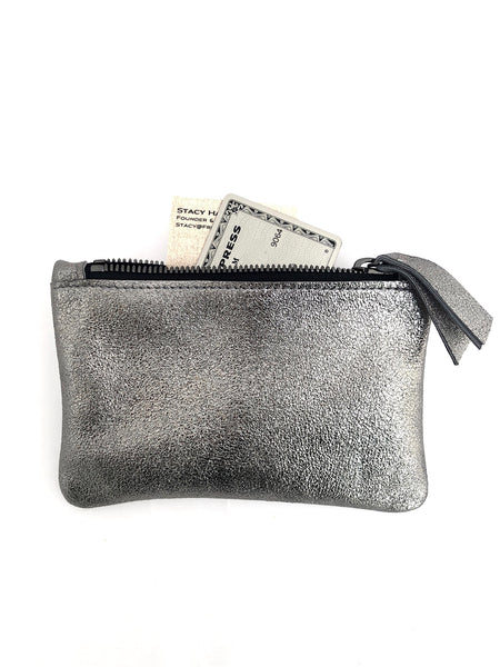 Small Coin Pouch - Rose Gold Metallic Leather (add'l metallic colors avail)