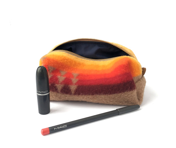 Small Toiletry Bag - Warm Tribal Blanket with Leather