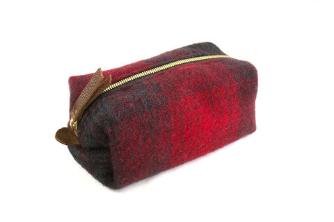 Small Toiletry Bag - Red & Black Plaid Blanket with Leather