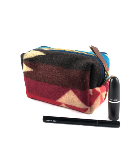 Small Toiletry Bag - Blues & Reds Tribal Blanket with Leather