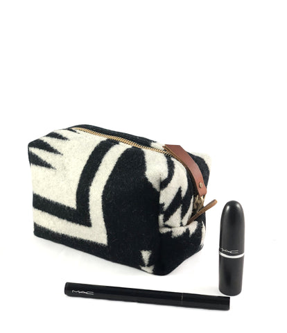 Small Toiletry Bag - Black & White Tribal Blanket with Leather