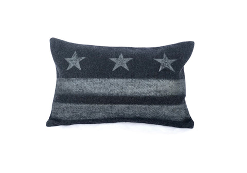 Washington D.C. Flag Pillow - Charcoal Gray Wool + Gunmetal Ink