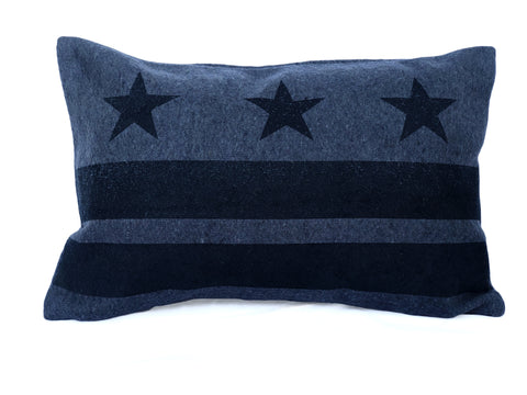 Washington D.C. Flag Pillow - Navy Blue Wool + Navy Ink