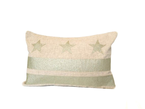 Washington D.C. Flag Pillow - Natural Linen + Champagne Ink