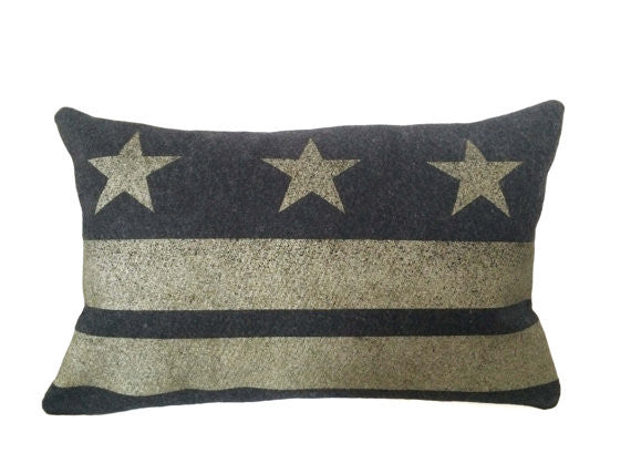 Washington D.C. Flag Pillow - Charcoal Gray Wool + Champagne Ink