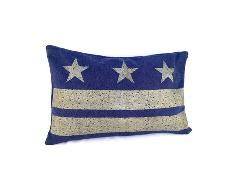 Washington D.C. Flag Pillow - Navy Blue Wool + Champagne Ink