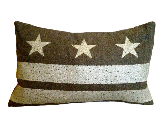 Washington D.C. Flag Pillow - Olive Green Wool + Champagne Ink