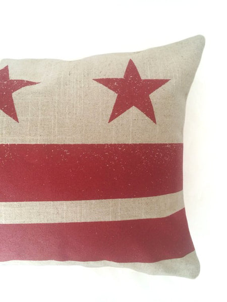 Washington D.C. Flag Pillow - Natural Linen + Ruby Red Ink