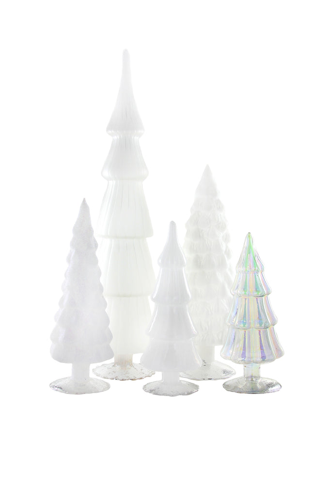 Cody Foster White Hue Glass Trees Large Iridescent Matte Opaque Glitter