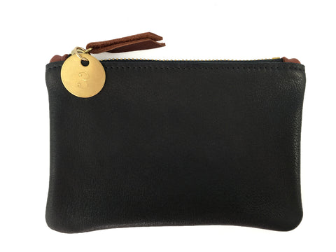 Small Coin Pouch - Black Leather