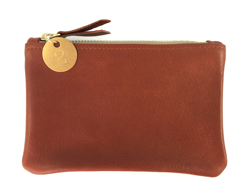 Small Coin Pouch - Bourbon Brown Leather