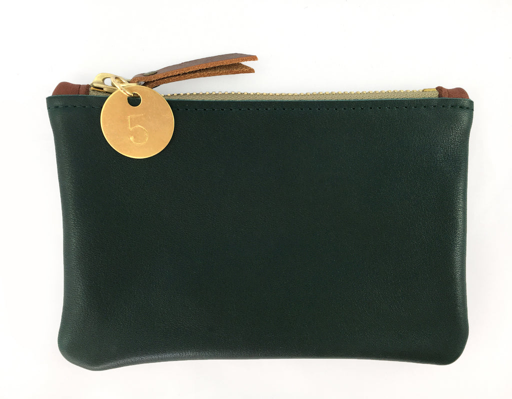Small Coin Pouch - Forest Green Leather