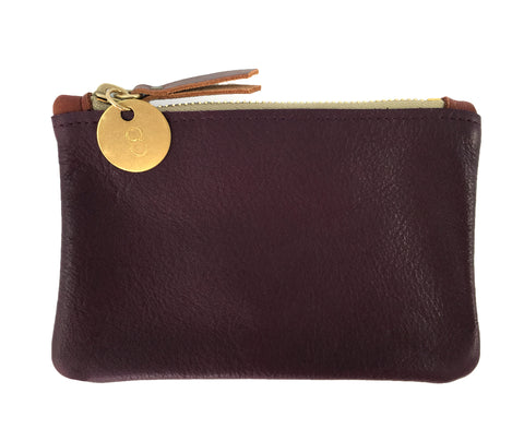 Small Coin Pouch - Aubergine Leather