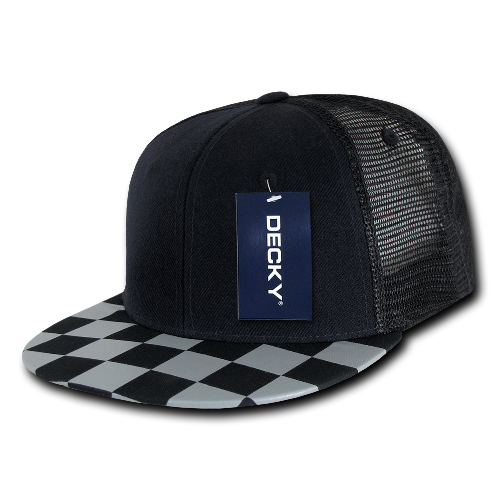 CHECKERED FLAT PEAK TRUCKER