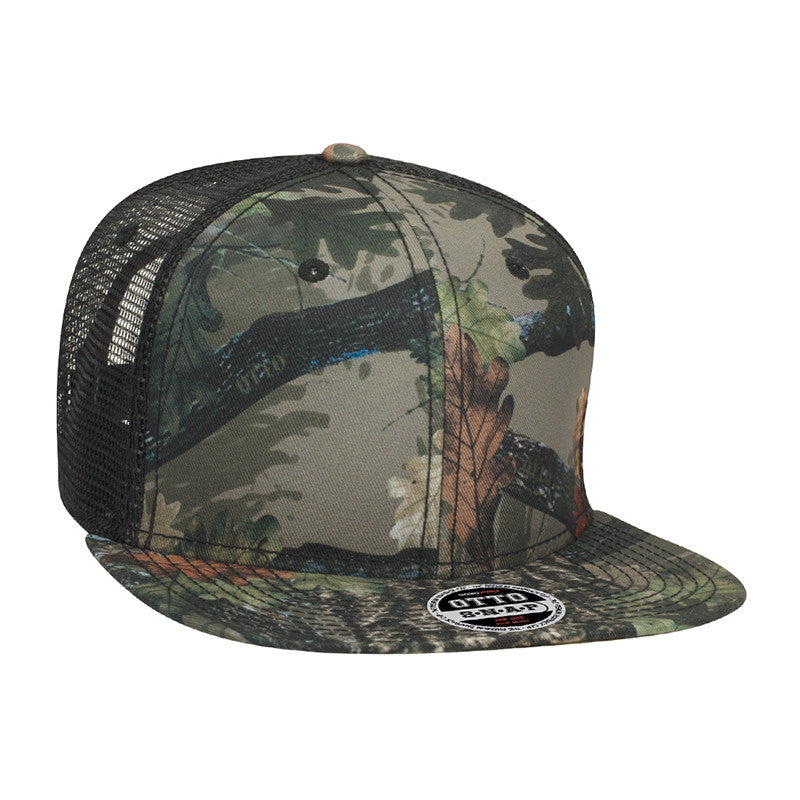 SIX PANEL POLY TWILL CAMOUFLAGE FLAT CAP