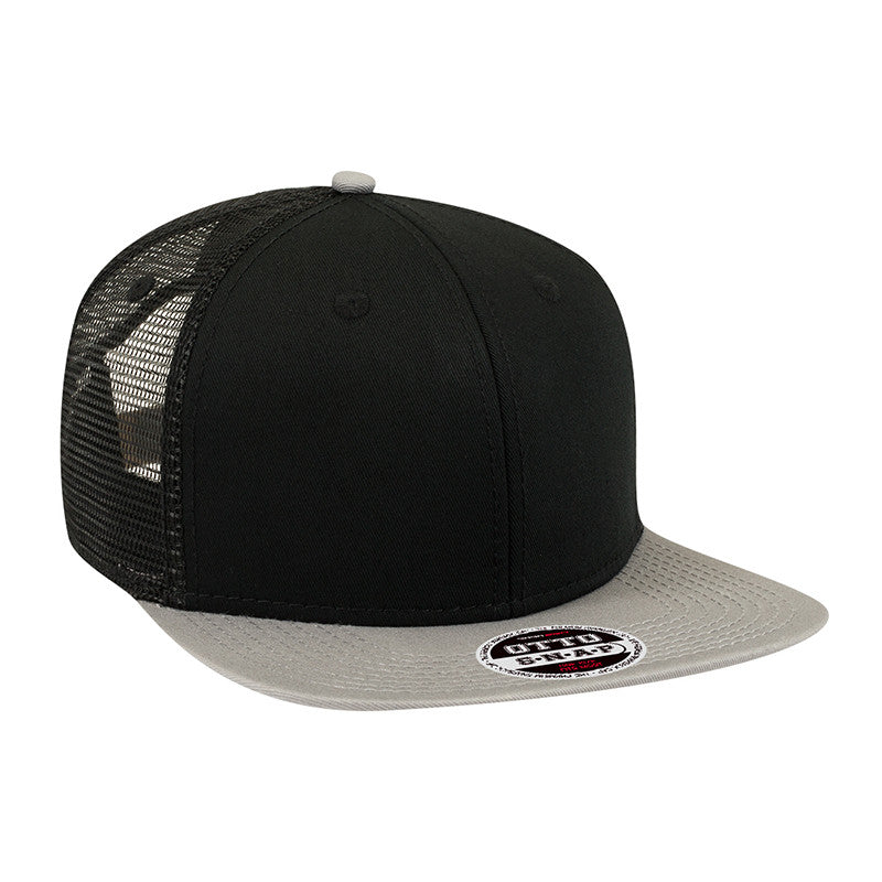 SIX PANEL COTTON MESH SNAPBACK FLAT CAP