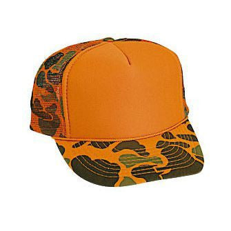 FIVE PANEL POLY FLUORO CAMO MESH BACK CAP