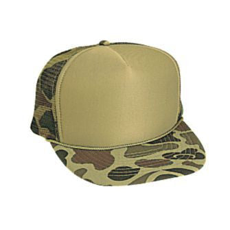FIVE PANEL POLY FOAM CAMO MESH BACK CAP