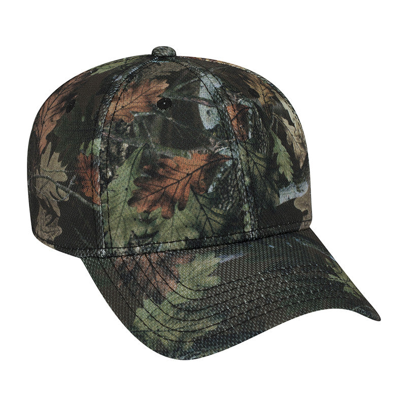 SIX PANEL CAMO POLY PIQUE MESH CAP