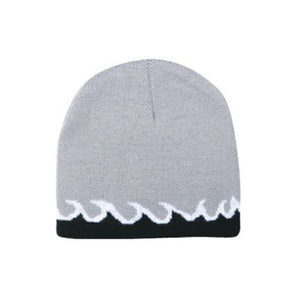 FLAME DESIGN REVERSIBLE KNIT BEANIE