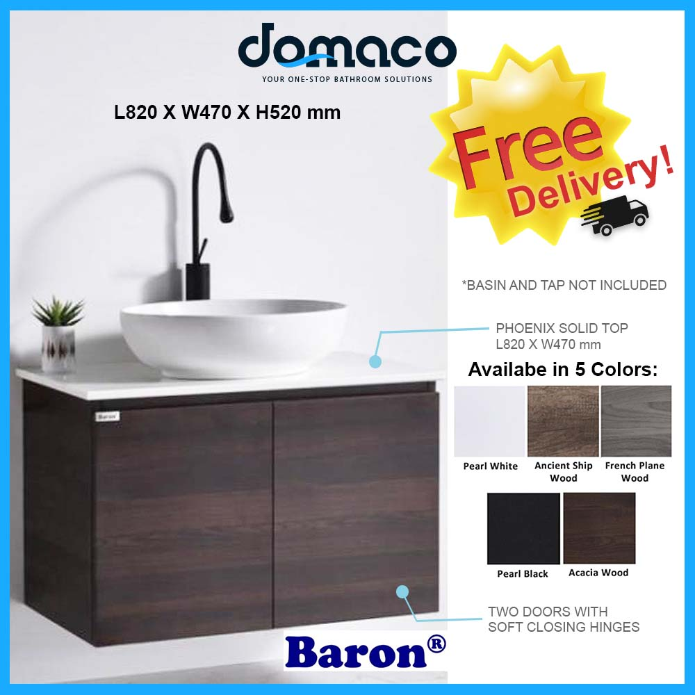 Baron A108-ST Stainless Steel Basin Cabinet With Phoenix Stone Solid Top domaco.com.sg