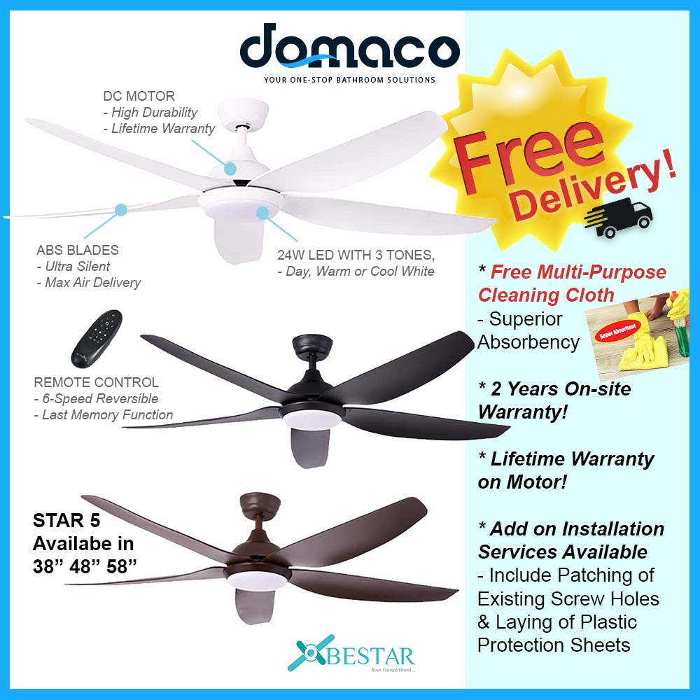 Bestar Star 5 DC Ceiling Fan With 24W 3 Tone LED Light Kit And Remote domaco.com.sg