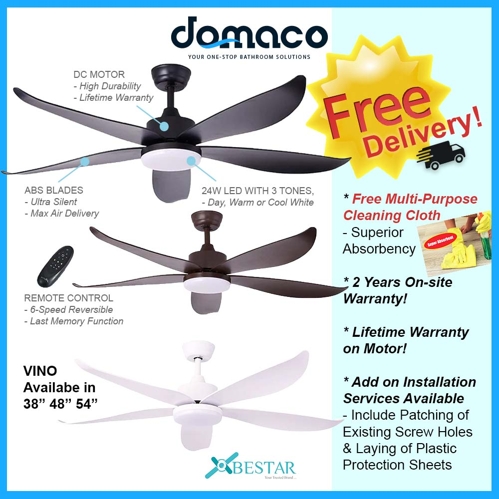 Bestar Vino DC Ceiling Fan With 24W 3 Tone LED Light Kit And Remote domaco.com.sg