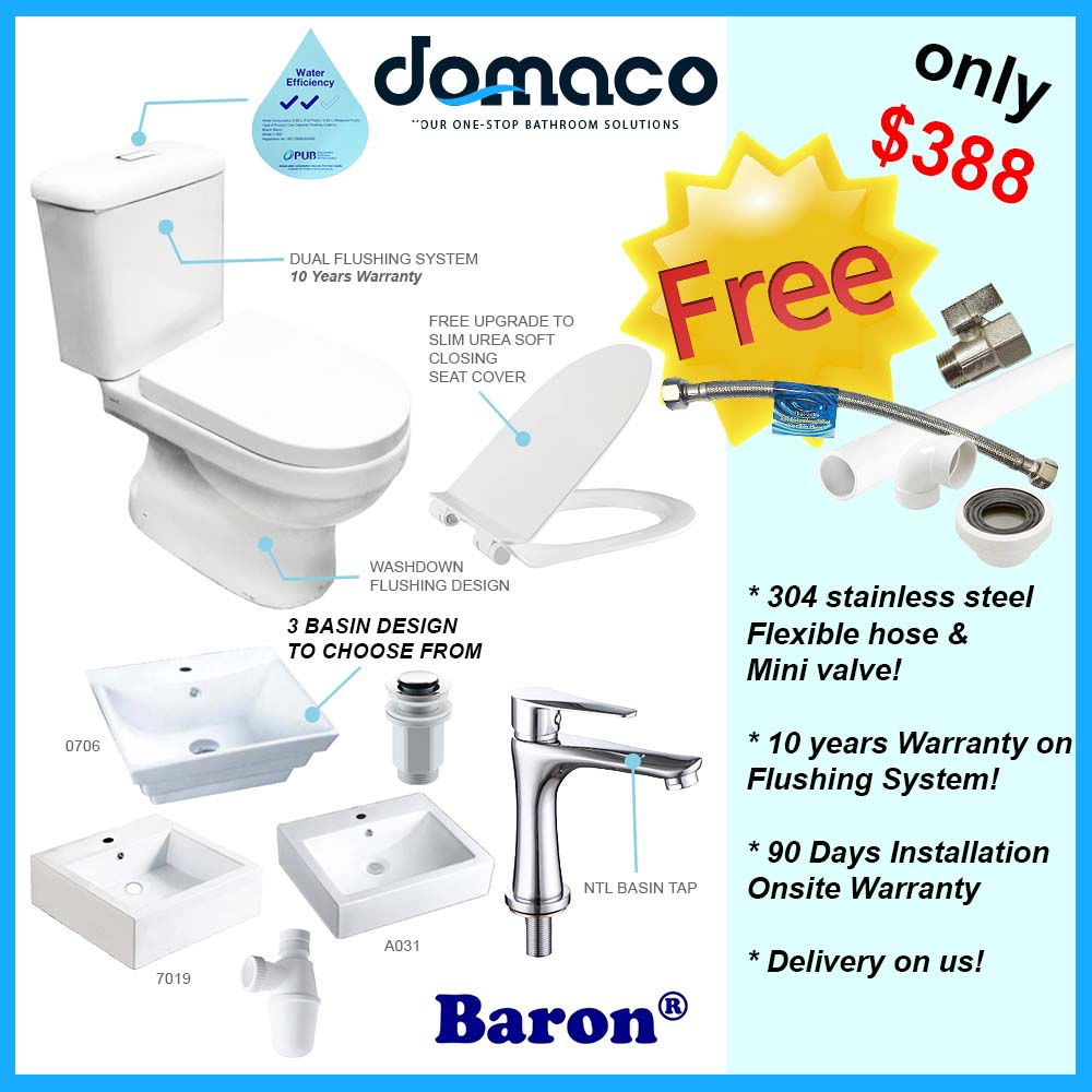 Toilet Bowl and Basin Package domaco.com.sg