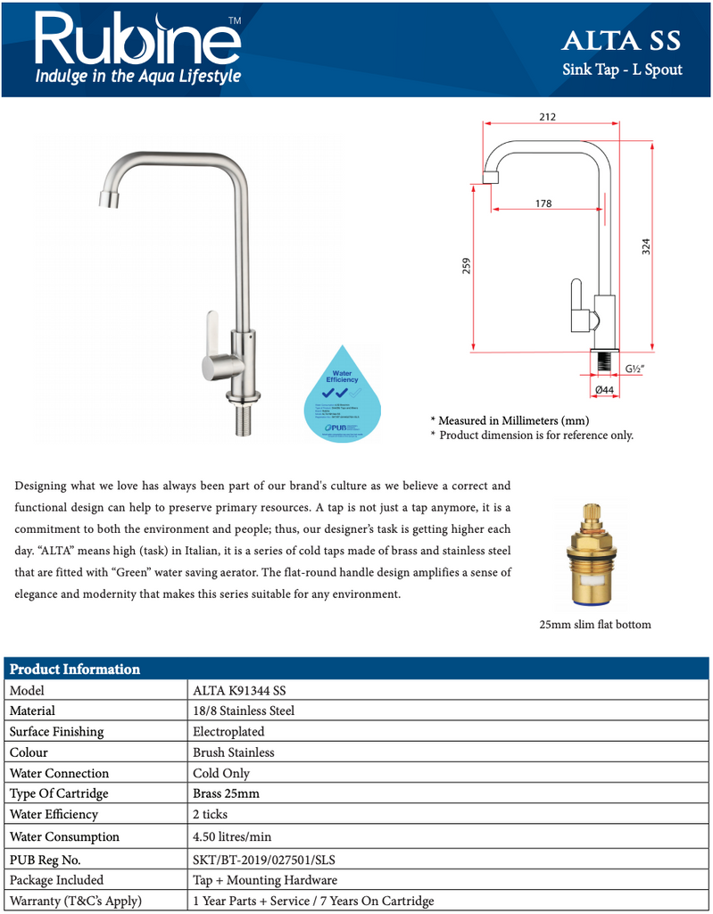Rubine Alta P91344 SS Stainless Steel Kitchen Tap domaco.com.sg