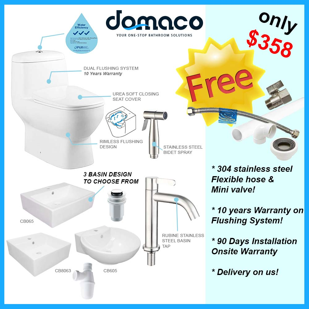 Toilet Bowl and Basin Packages domaco.com.sg