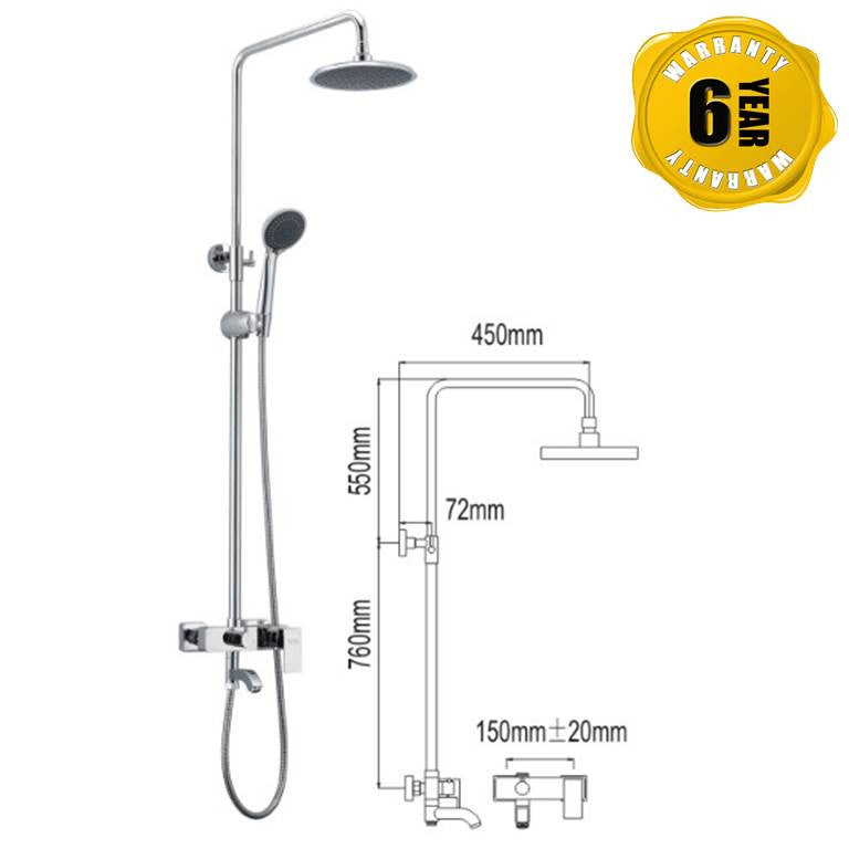 NTL Rain Shower Mixer 1002 (27880)<br>*Contact us for best price - Domaco