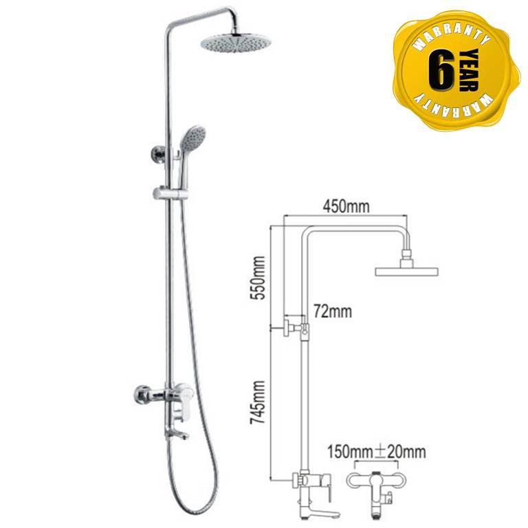 NTL Rain Shower Mixer 1008 (22880)<br>*Contact us for best price - Domaco