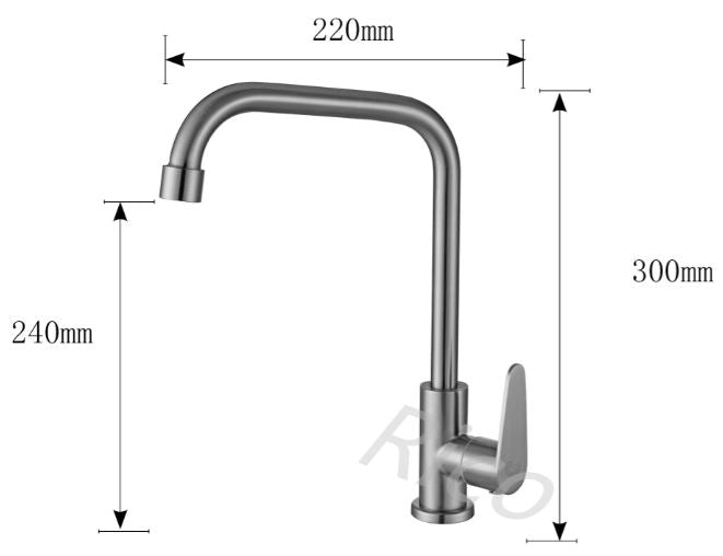 RICO 30405-13SS-C STAINLESS STEEL SINK COLD TAP (6880)<br>*Contact us for best price - Domaco
