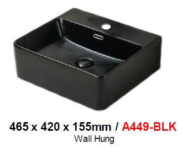 BARON A449 BLACK WALL HUNG  BASIN (9800) *Contact us for best price - Domaco