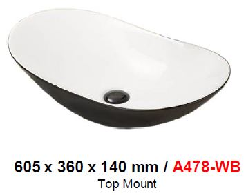 BARON A478WB WHITE & BLACK TOP MOUNT BASIN (16800) *Contact us for best price - Domaco