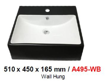 BARON A495WB WHITE & BLACK WALL HUNG BASIN (14800) *Contact us for best price - Domaco