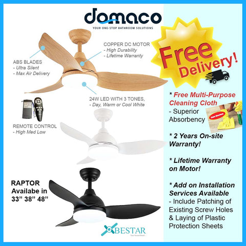 Bestar Raptor DC Ceiling Fan with 24W 3 Tone LED Light Kit and Remote domaco.com.sg