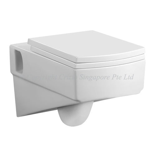 Crizto CWC-WH211-WTP Square Wall Hung WC For Concealed Tank - Domaco