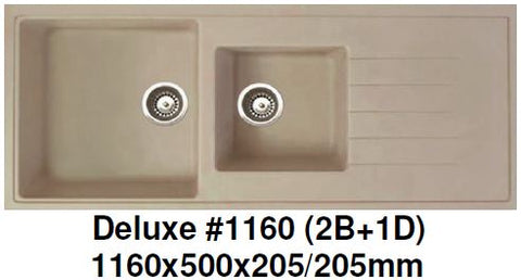 CARYSIL Deluxe #1160 (2B +1D) Granite Kitchen Sink (32500) *Contact us for best price - Domaco