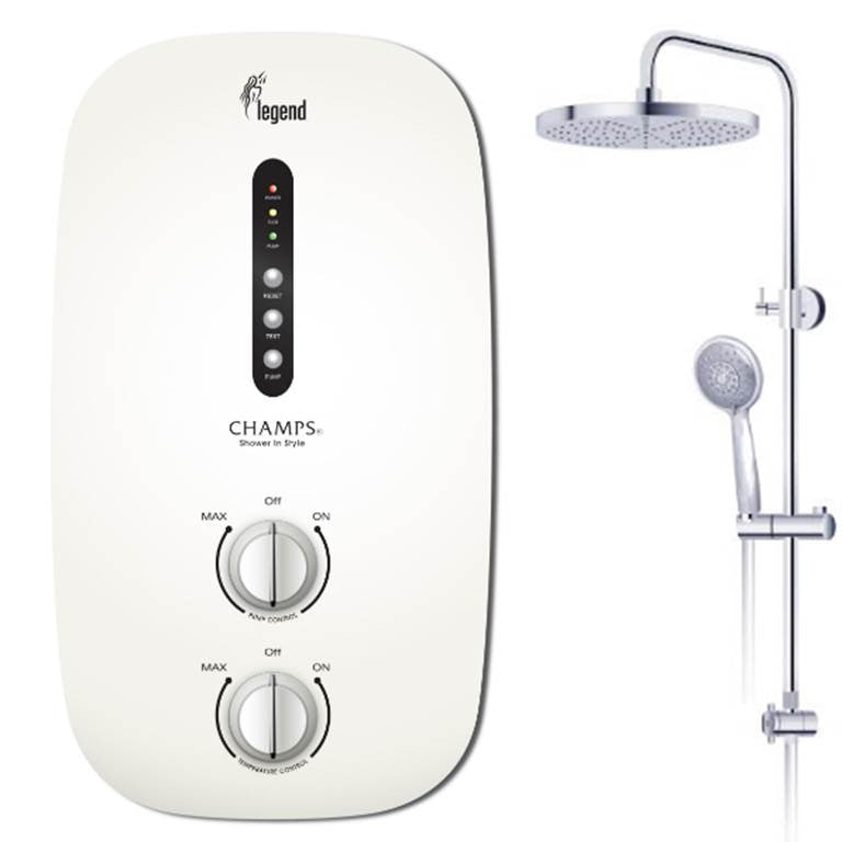 CHAMPS INSTANT WATER HEATER LEGEND WITH RAIN SHOWER Dual Package (46000)<br>*Contact us for best price - Domaco